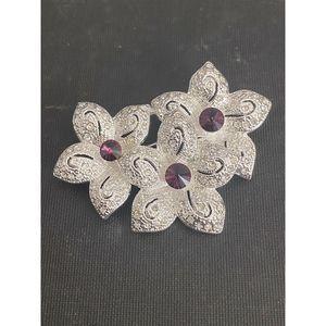 Napier Rhinestone Pin Brooch Purple Flower Bouquet